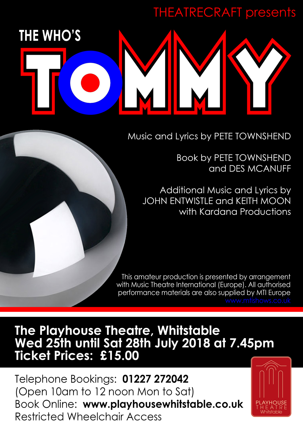 Theatrecraft Herne Bay presents the musical The Who's Tommy at the Whitstable Playhouse